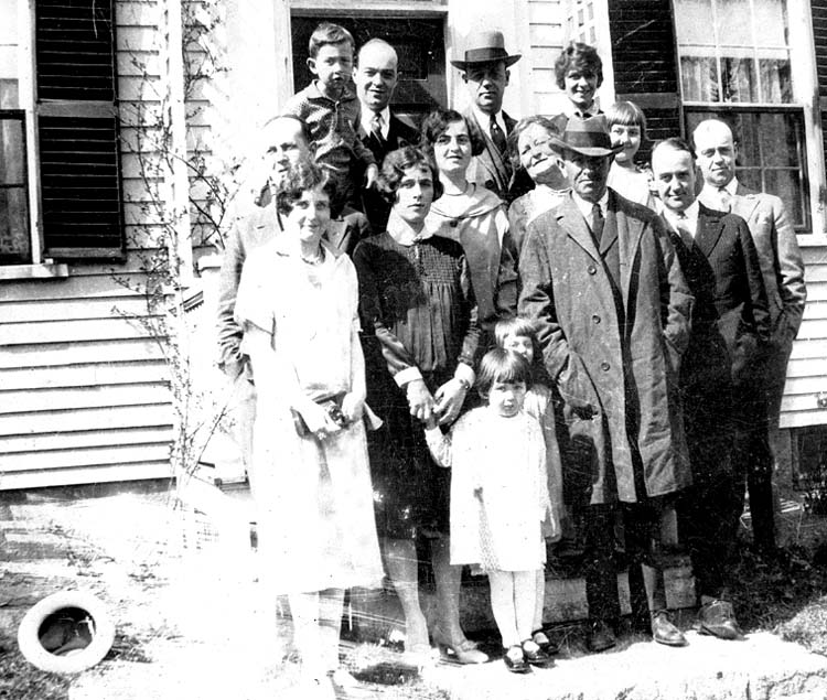 The Gibbons Family -- Top L to R: Glenn, Ted john Wesley (judge at Saratoga), Leta (married to Norman), Middle: Walter (Glenn's father), Annie (Glenn's Aunt), Lillian May Gibbons (grandmother), Eleanor (daughter of Marian and Roland) Bottom: Marion (married to Roland), Madelene (Glenn's Mother), Wesley Forrester Gibbons (Grandfather), Norman, Young girl in front, Nancy (Glenn's sister) and behind Nancy, Charlotte (daughter of Nancy)