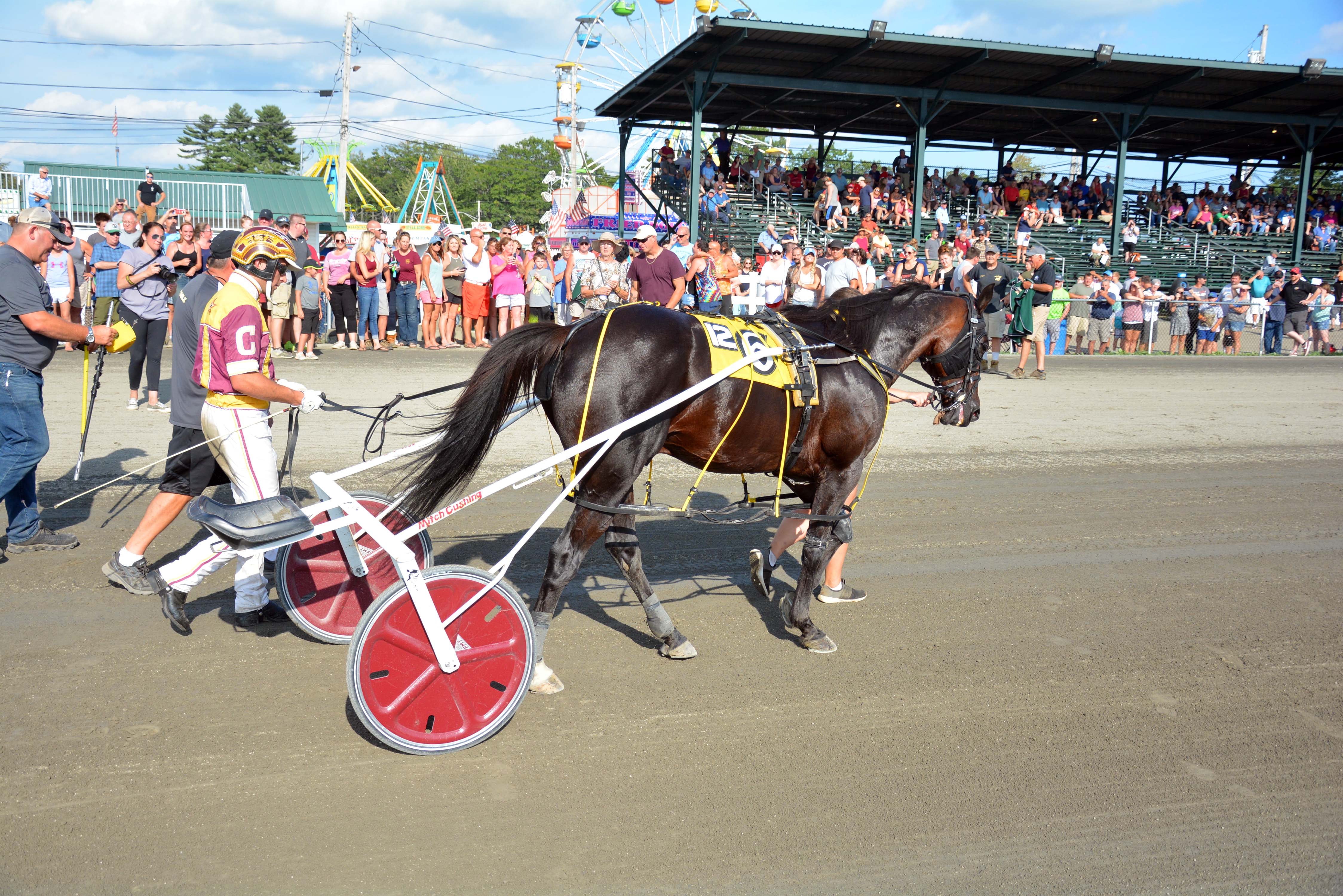 "Mitchell Cushing Drives Foiled Again Past Kid Courageous A for the Win in 1:55.4 in the ""Au Revoir"" Pace at the Windsor Fair"